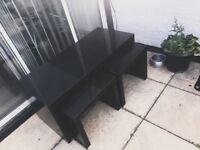 Black gloss table with two side tables