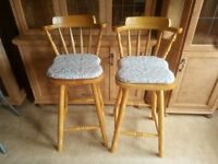 Pair Of Solid Pine Kitchen / Bar Stools.