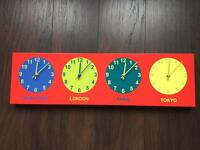 Kids wall clock x4time zoned