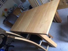 dining table Solid oak chairs and table