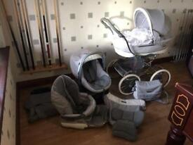 Bebecar pushchair/carrycot/car seat + base and extras