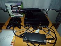 Xbox 360 slim 250gb console bundle, all cables, 2 controllers & kinekt 12 games