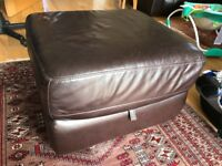 Leather pouffe/footsool, can also be used for storage