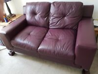 FOR SALE - 2 seater leather sofa & matching footstool