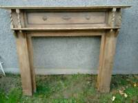 Vintage oak fire surround mantelpiece