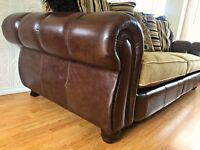 Henley Mayfair Leather and Fabric 4 Seater Sofa Tetrad style DELIVERY