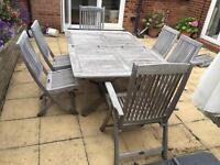 Bridgman teak Tecknique double leaf garden table and chairs