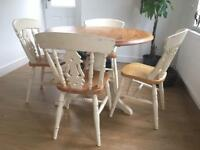 Pine round table and 4 chairs - shabby chic style