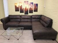 African Hide Brown Leather Corner Sofa