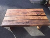 Handmade Rustic Oak Table With 2 Stools