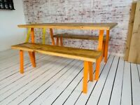 Open Frame Industrial Dining Table / Bench Sets - Any RAL Colour Powder Coating!