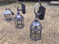 3 Large Outdoor Wall Lamps. Light fitting fixtures. Vintage look. Ideal for Garden.