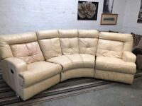 Leather fully recliner curve corner sofa