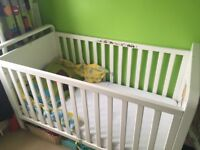Mothercare Cotbed with Mattress matching Cottop Changer and Chest of Drawers