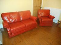 Wade leather sofa & chair