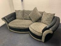 Grey & black curved sofa free delivery £150 delivery 🚚 sofa suite couch furniture