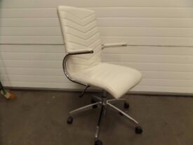 WHITE FAUX LEATHER MEETING ROOM CHAIR