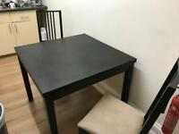 IKEA BJURSTA BLACK EXTENDABLE DINING TABLE & 2 IKEA BORJE CHAIRS GOOD CONDITION CAN DELIVER