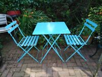 BLUE METAL GARDEN PATIO TABLE & 2 CHAIRS