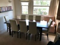 Mahogany set: Extending dining table, sideboard / dresser and 10 chairs