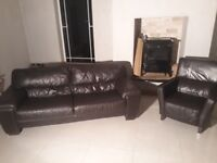 3 & 1 Brown leather suite for sale