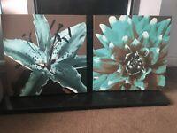 Beautiful Lucyart teal/brown canvas (X2)