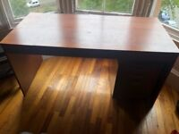 solid wood writing desk With lockable wood file drawers Leather office chair