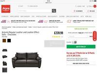 Brand New Antonio Regular Chocolate Leather Sofa