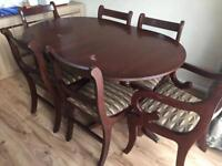Dinning table 6 chair solid wooden mahogany colour
