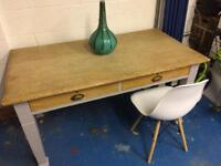Vintage dining table upcycled old school teacher desk with draws