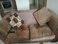 Brown fabric 2 seater sofa and chair for sale