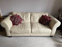 DFS Triple cream leather sofa - FREE to collect