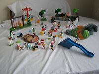 LARGE LOT OF ASSORTED PLAYMOBIL PLAYGROUND , SEAL SHOW , 21 figures ETC