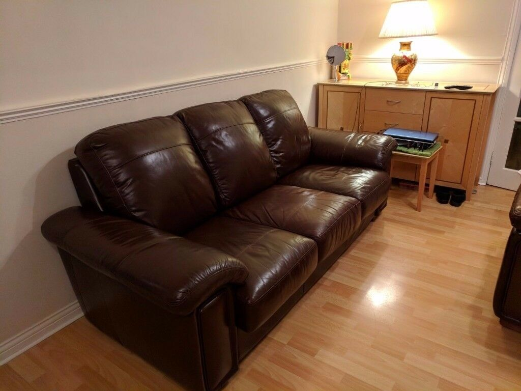 Fantastic buy - excellent condition, brown leather sofas - 3, 2 and 1 seater - £400