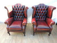 Pair of Queen Anne Chesterfield Chairs (Delivery)