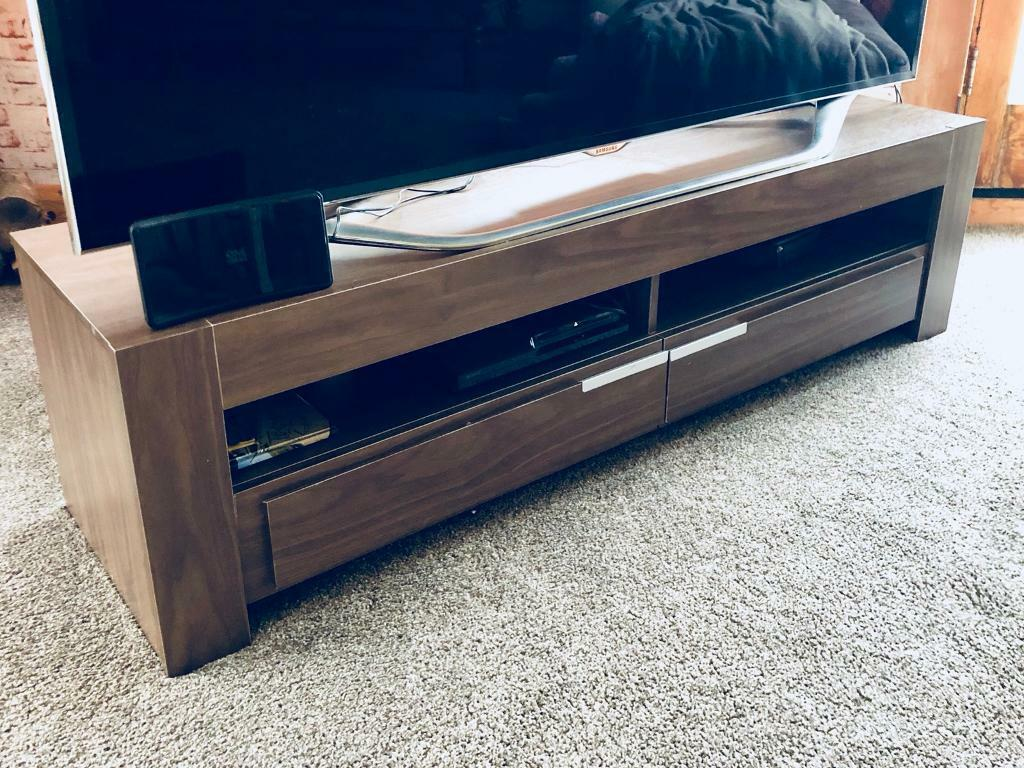 Low wide dark wood tv unit stand with drawers
