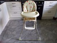 Mammas and Pappas Cream/patterned Highchair. VGC.