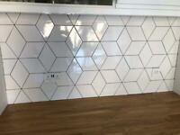 NEW & Boxed 1m2 Geometric White Wall tiles 15.2cm x 26.3cm (x2m2 unopened boxes available)