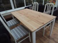 REDUCED - Farmhouse Pine Table with Rustoleum Cotton Satin Paint and 4 x Recovered chairs