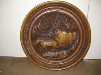 Vintage Natural Wooden Carving - Hanging Wall Ornament