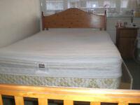 King size mattress, divan and pine headboard