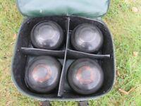LAWN BOWLS - set of 4 HENSELITE Super Grip Bowls