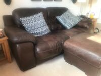 2 x Large 2 Seater Sofa's + storage footstool, brown leather