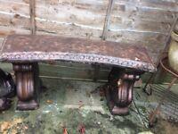 Garden pottery bench