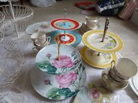 Wedding Vintage Cake stands package / Vintage Retro Events / Gold tea set / Vintage serving plates.