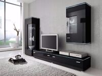 living room set, black high gloss, tv unit , gloss unit, display cabinet with glass