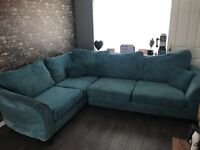 Dfs right hand corner sofa with foot stool , sold as seen