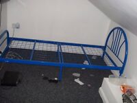 BLUE SINGLE BED METAL FRAME AS NEW CONDITION £15