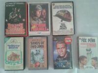 7 VHS tapes WAR ACTION films movies John Wayne Steve Mcqueen dirty dozen great escape metal jacket