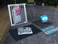 puppy cage, safety gate and lots more